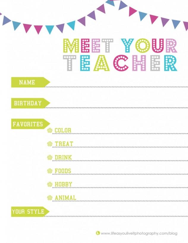 meet the teacher free template